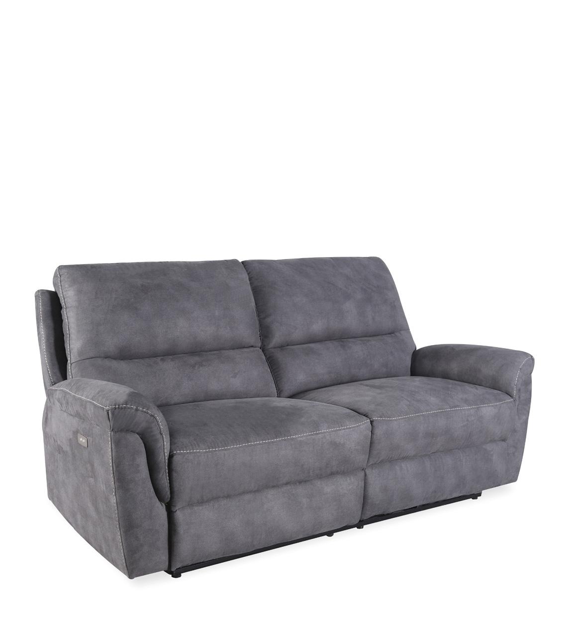 Canapé 2 places inclinable en tissu grisL 208 cm