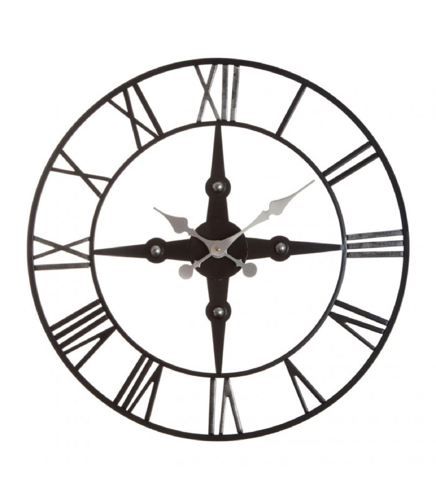 Horloge murale chiffres romains fer forgé noir D59