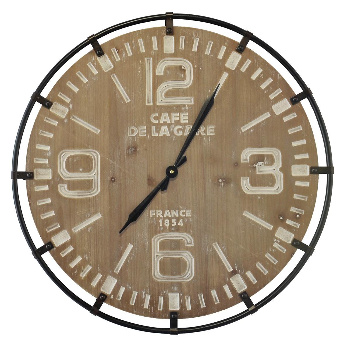 Horloge bois et métal marron D65