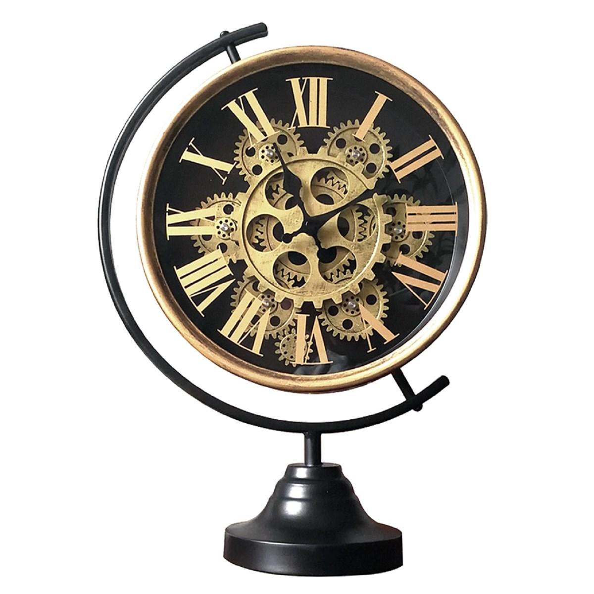 Horloge mécanisme sur pied en métal noir