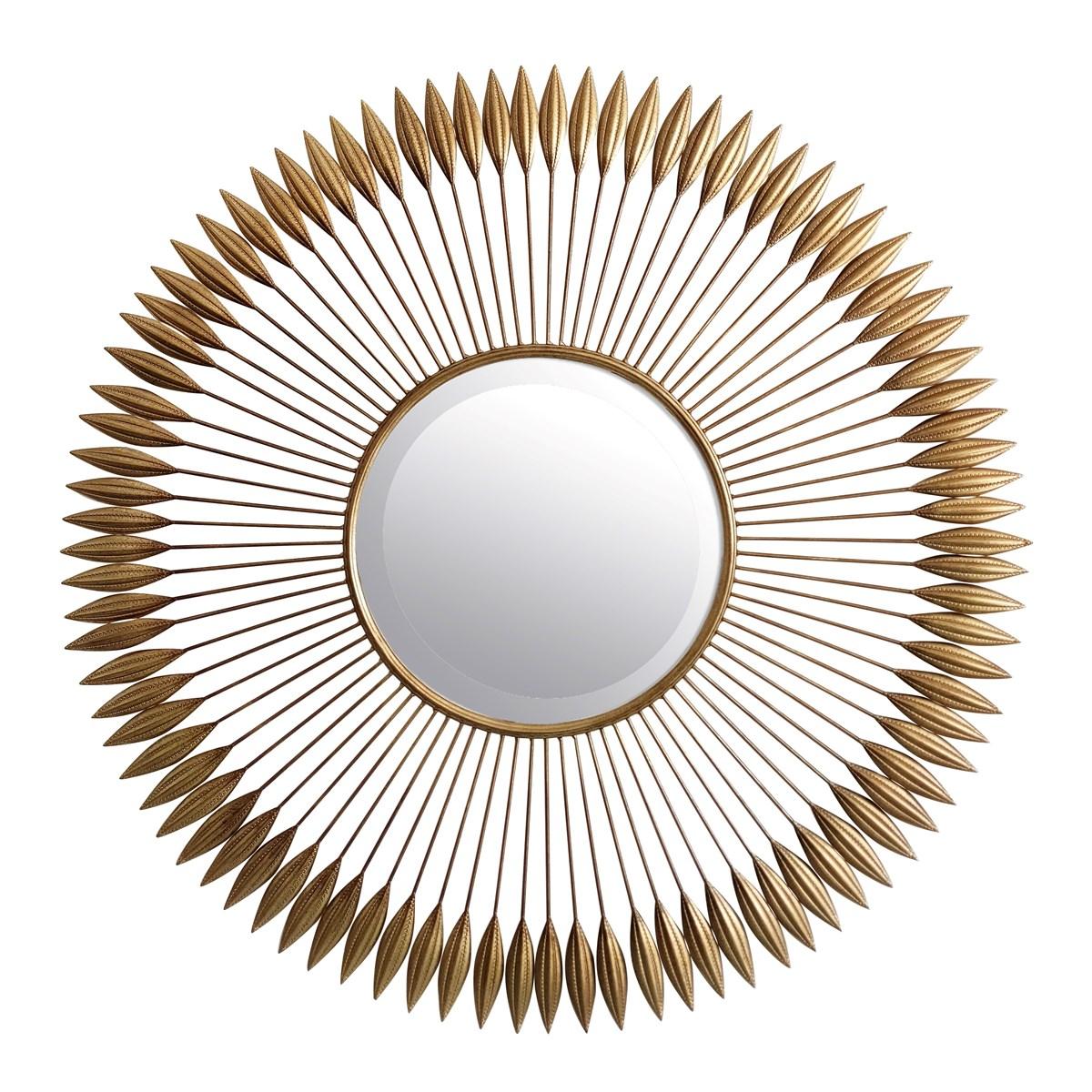 Miroir biseauté pointes en métal or D100