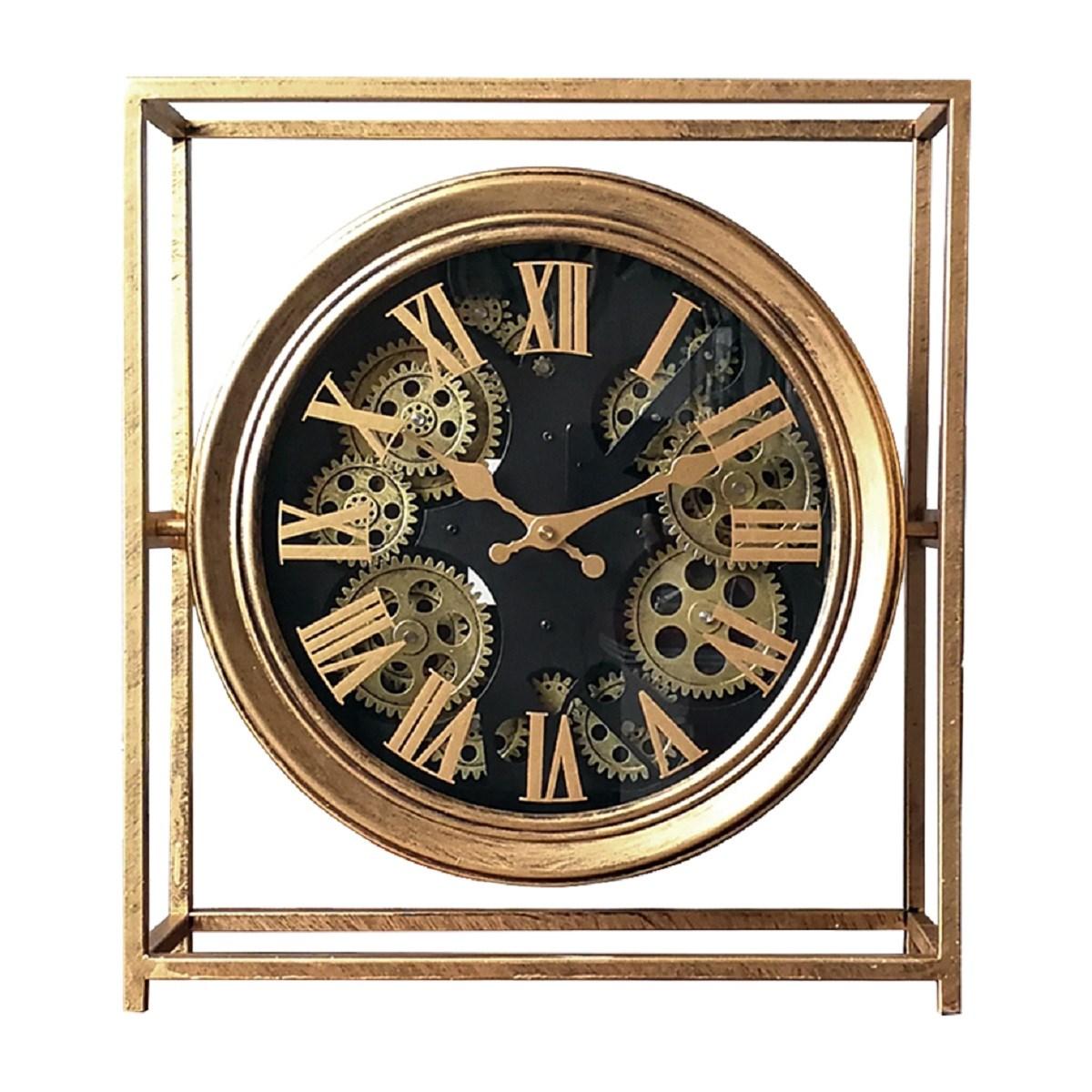 Horloge mécanisme carrée en métal noir