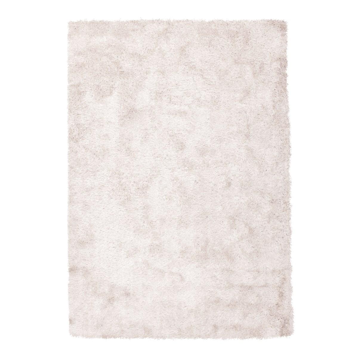 Tapis shaggy en Polyester Blanc cassé 160x160 cm