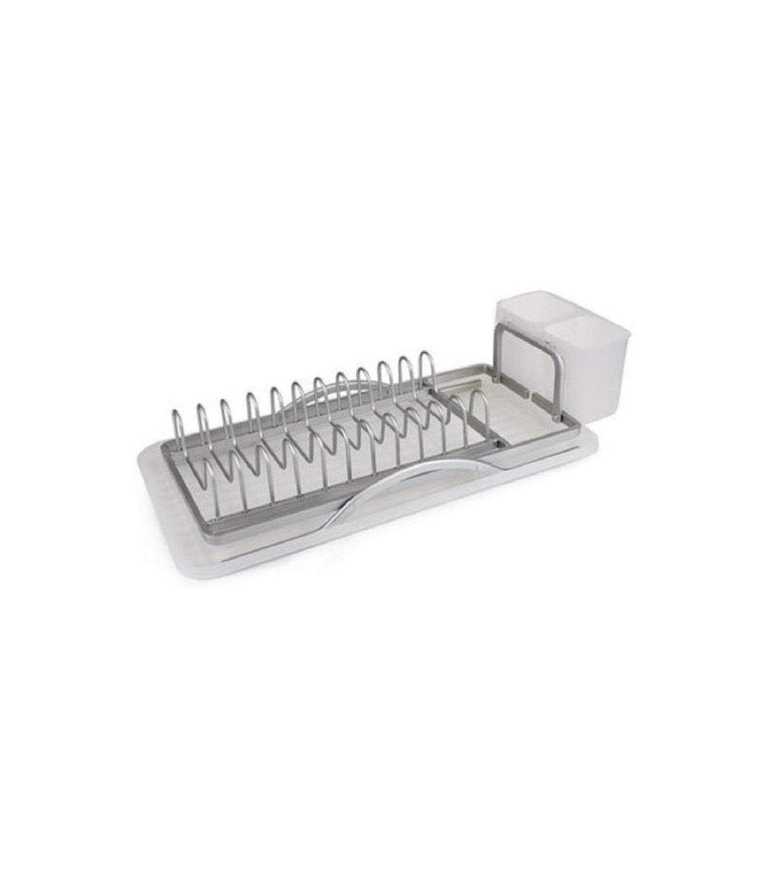 Égouttoir à vaisselle blanc et aluminium gris