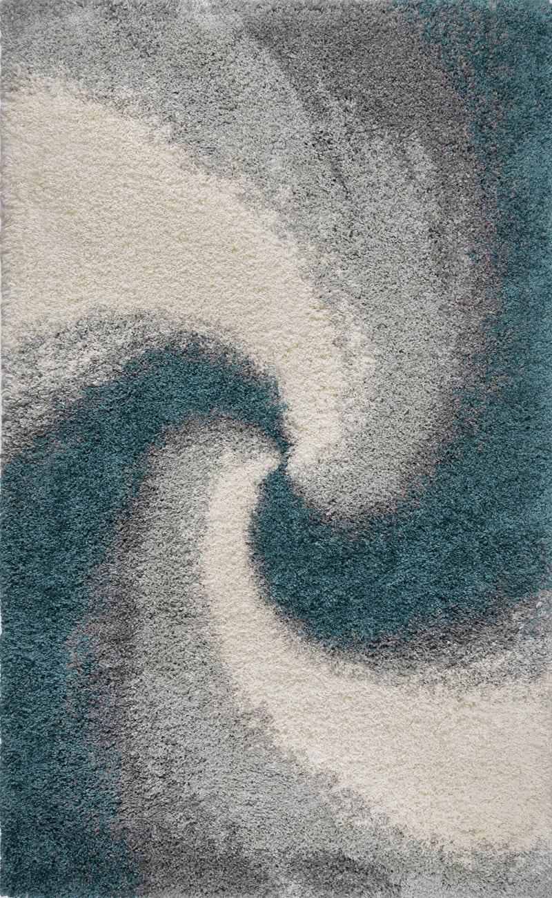 Tapis shaggy motif spirale bleu de prusse 120x170