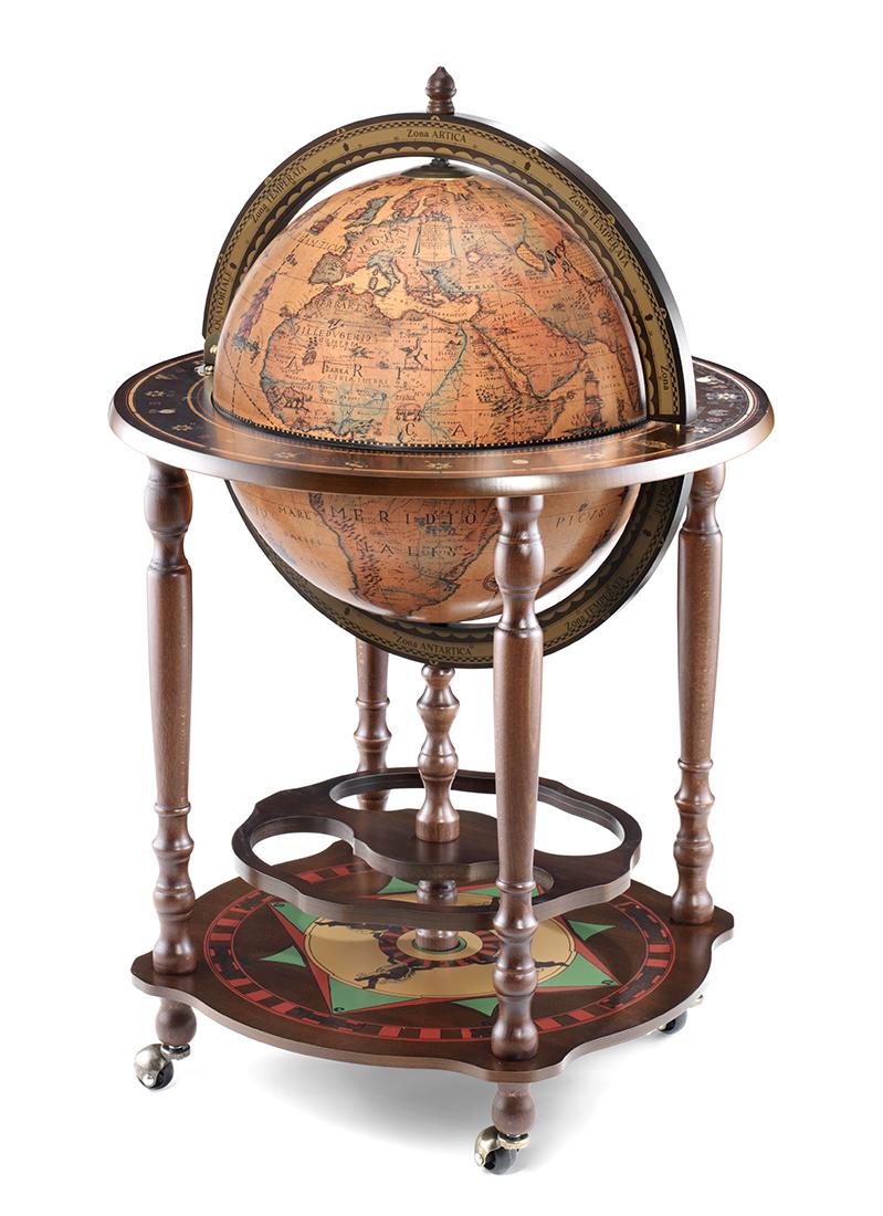 Globe bar avec roues et porte bouteilles