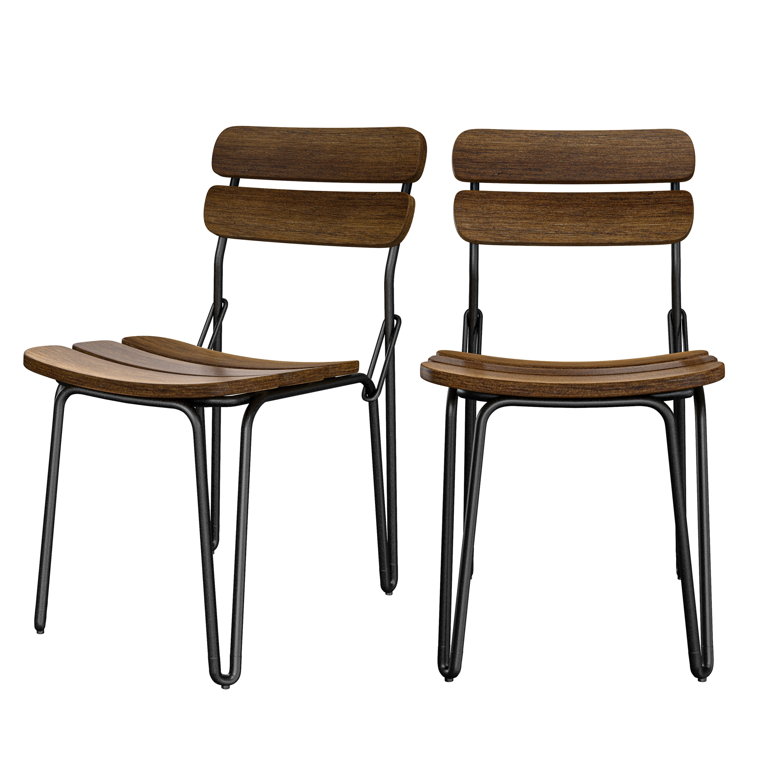 Chaise en bois de pin vieilli (lot de 2)
