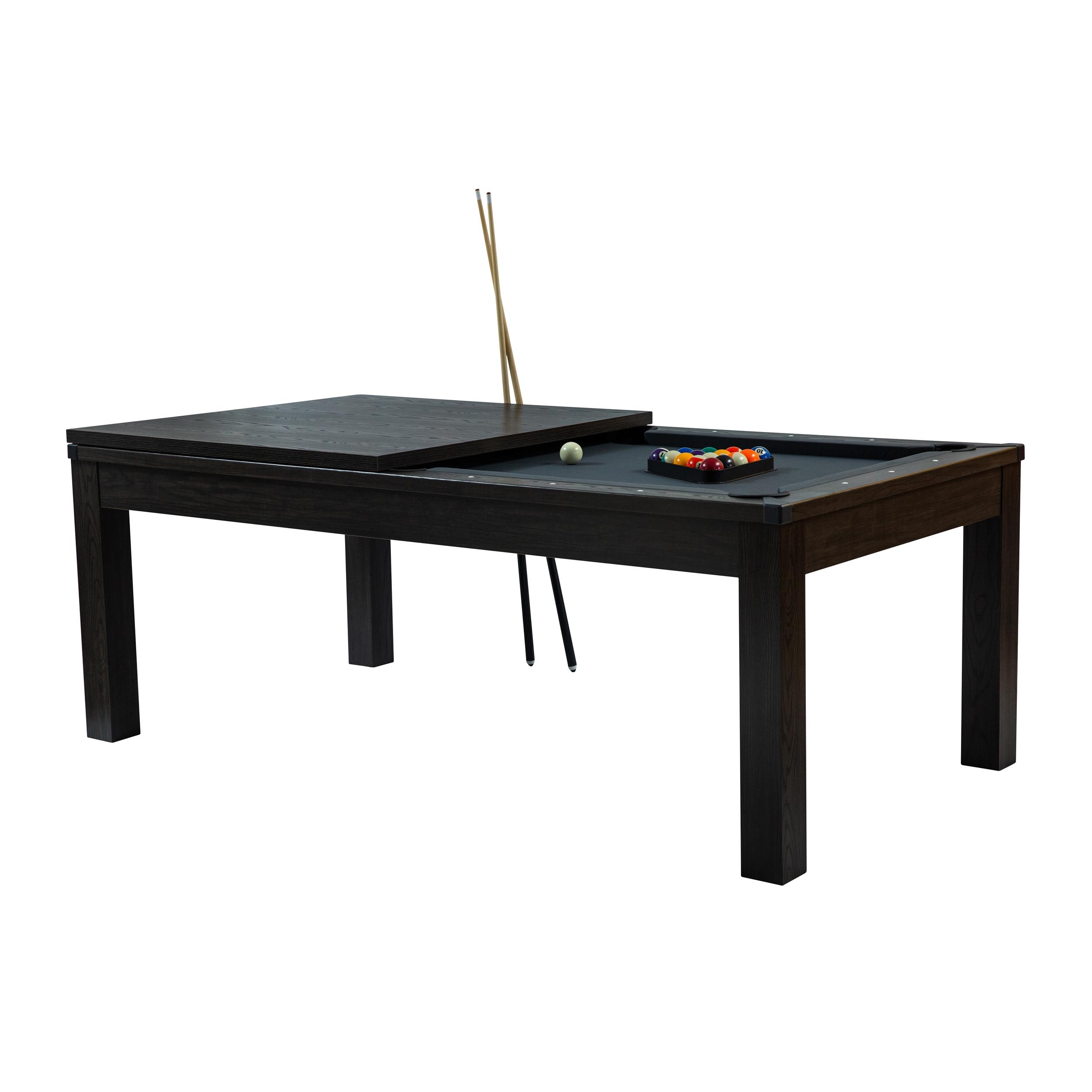 Table de billard convertible bois foncé tapis gris
