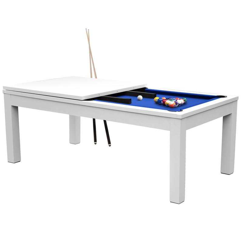 Table de billard convertible blanche tapis bleu