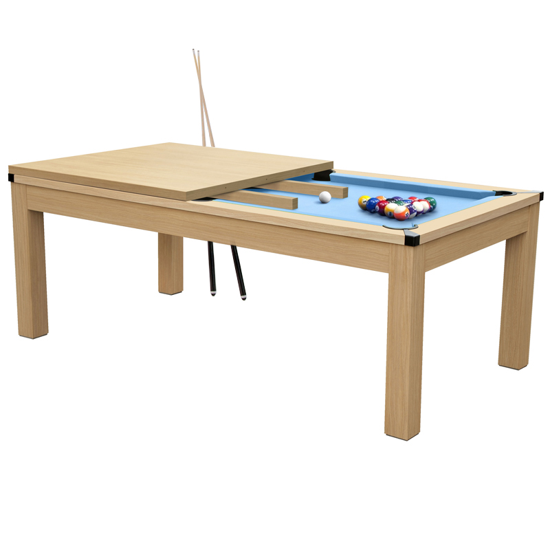 Table de billard convertible bois clair tapis bleu clair