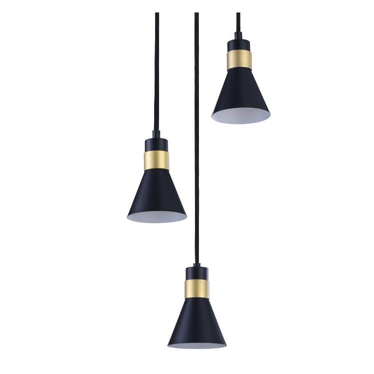 Suspension filaire en métal noir et doré 3 lampes