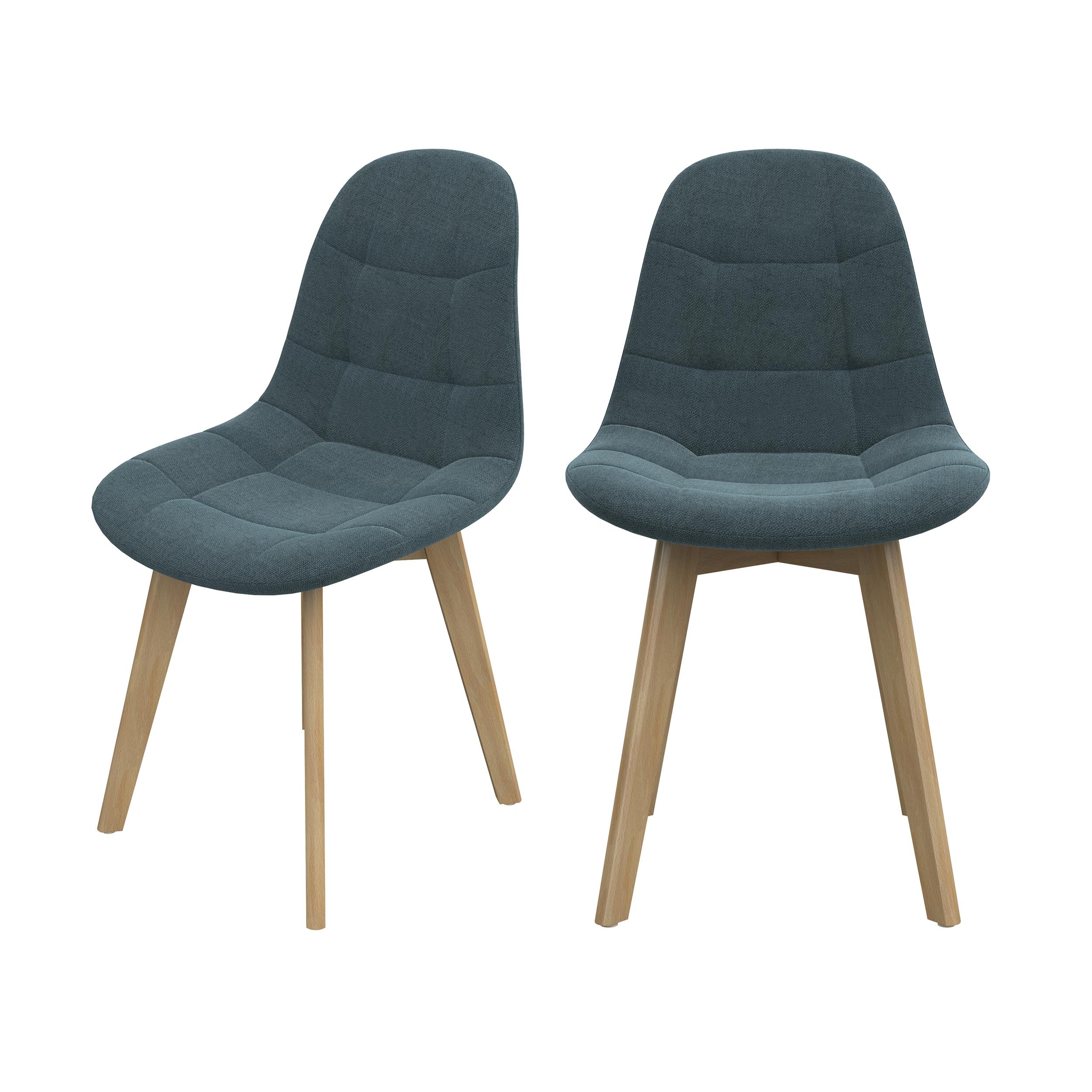 Chaise scandinave bleu/gris pieds bois d'hêtre (lot de 2)
