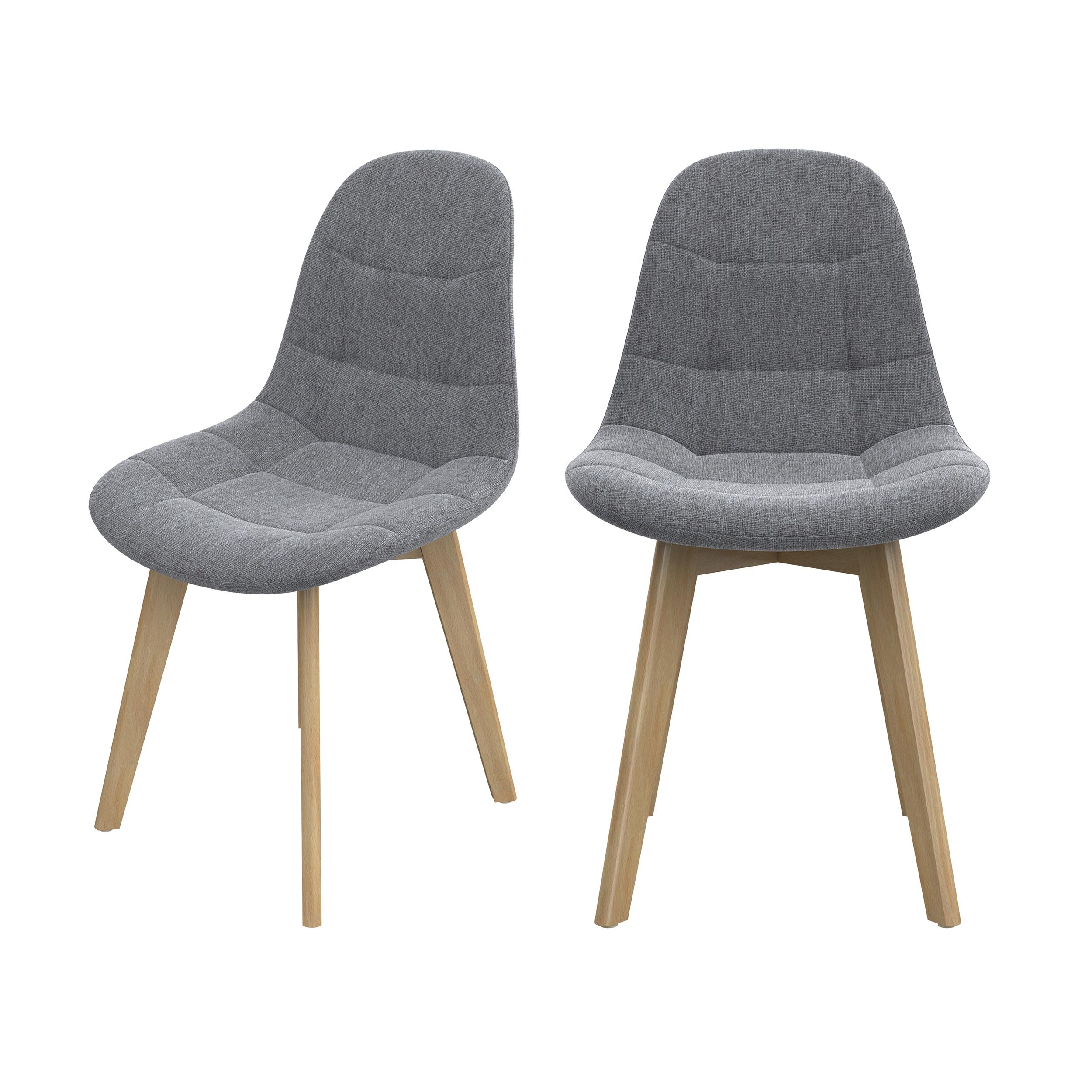 Chaise scandinave gris clair pieds bois d'hêtre (lot de 2)