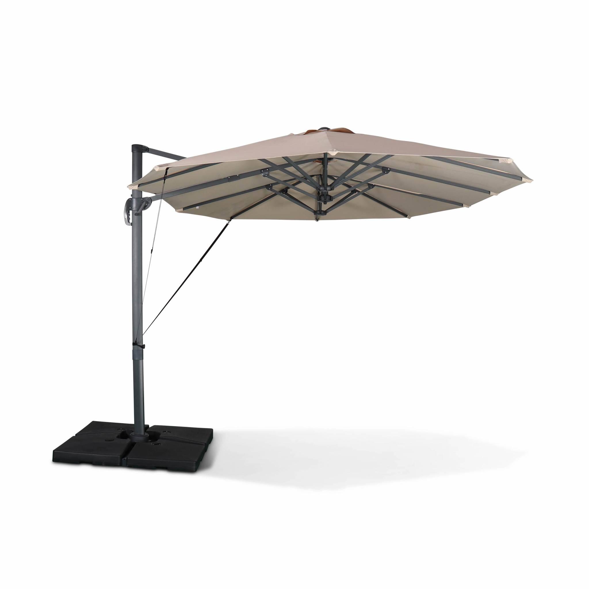 Parasol déporté ovale double 2x4m – beige – parasol à mât