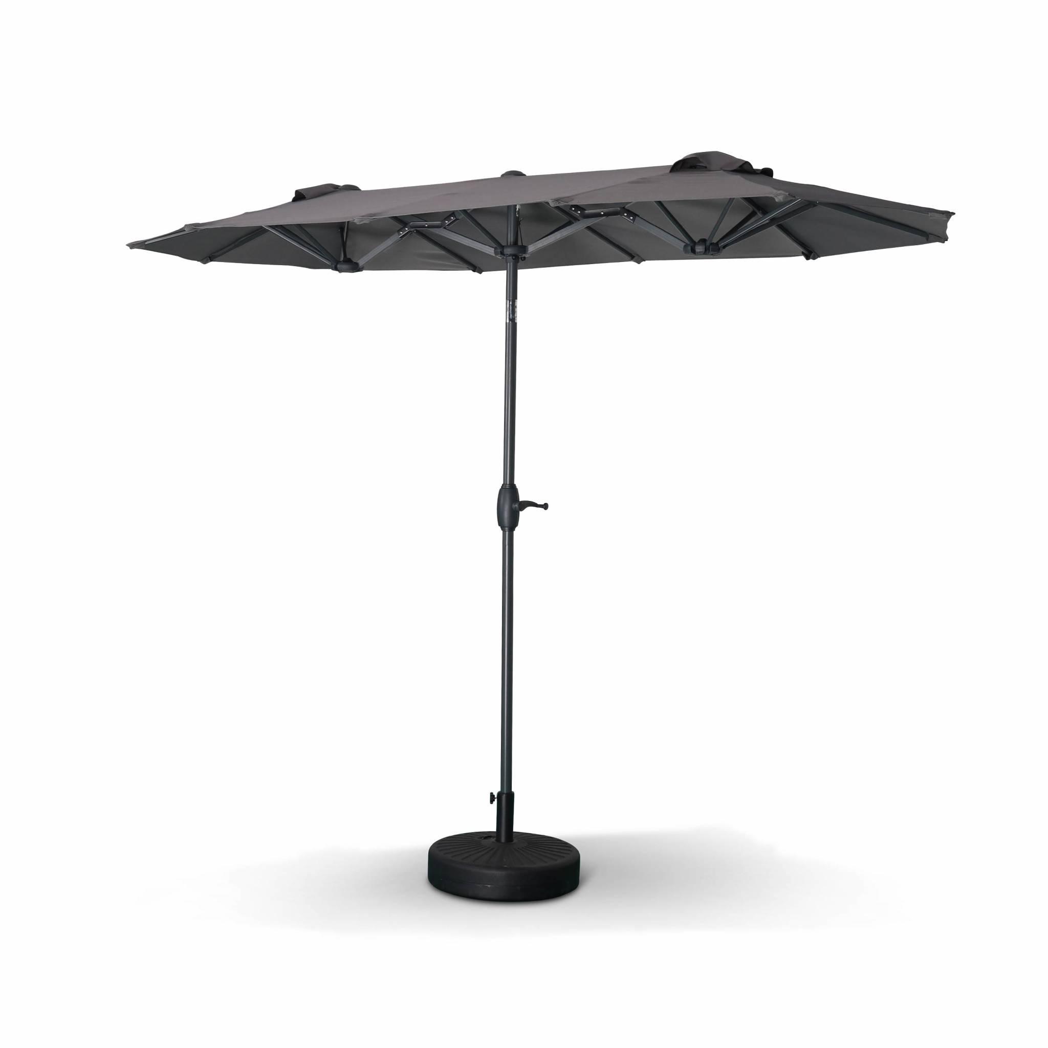 Parasol droit ovale double 1x3m – biarritz – gris – parasol à mât