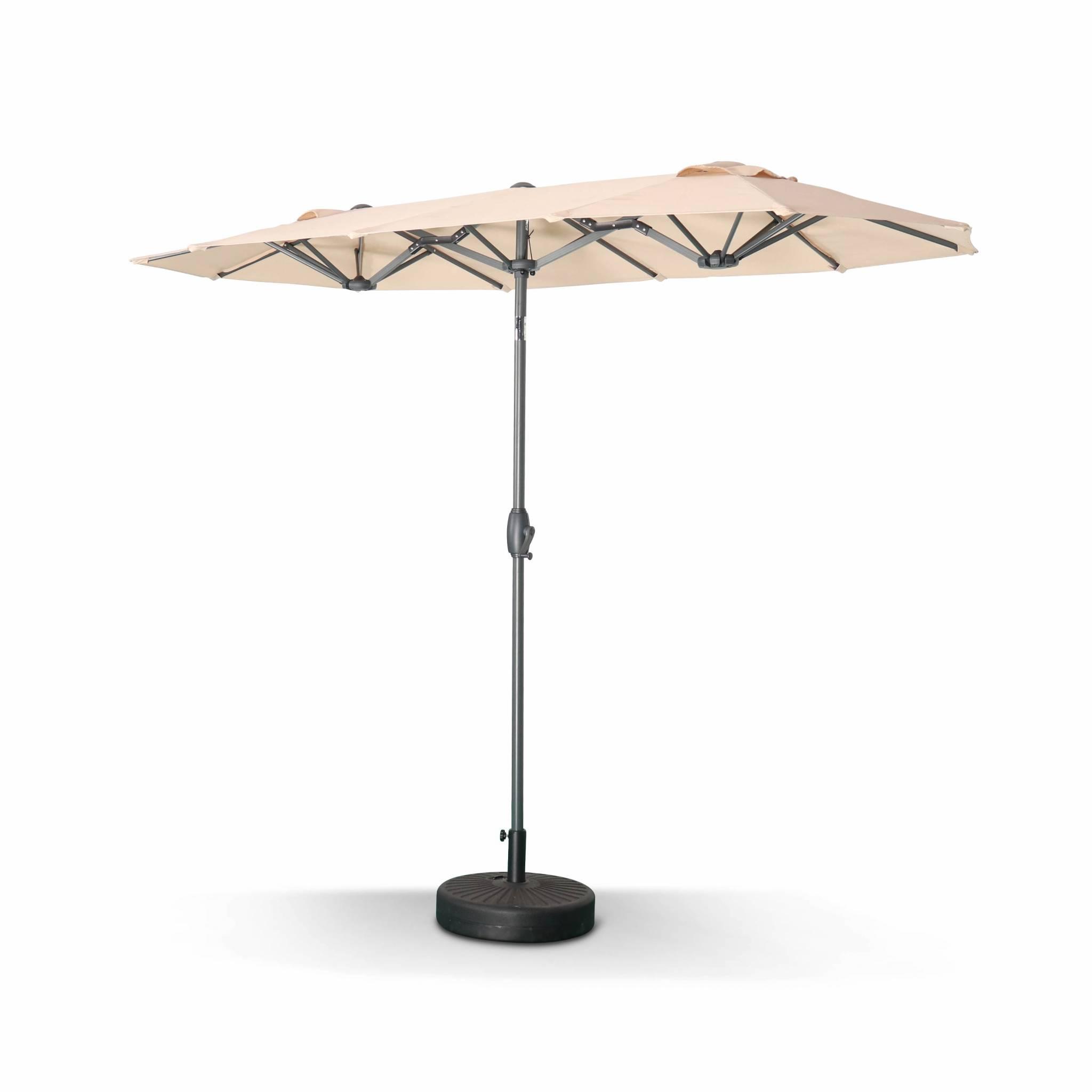 Parasol droit ovale double 1x3m – biarritz – beige – parasol à mât
