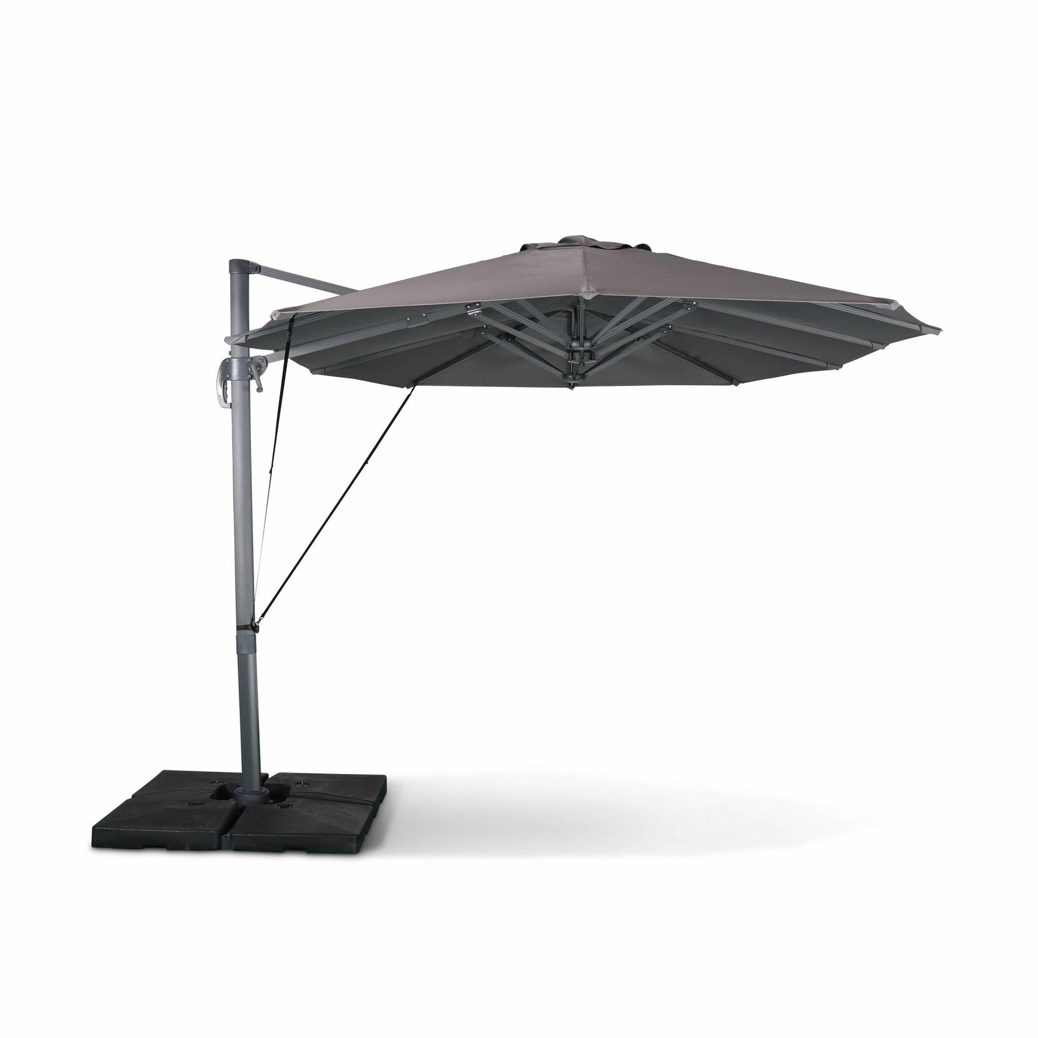 Parasol déporté ovale double 2x4m – gris – parasol à mât