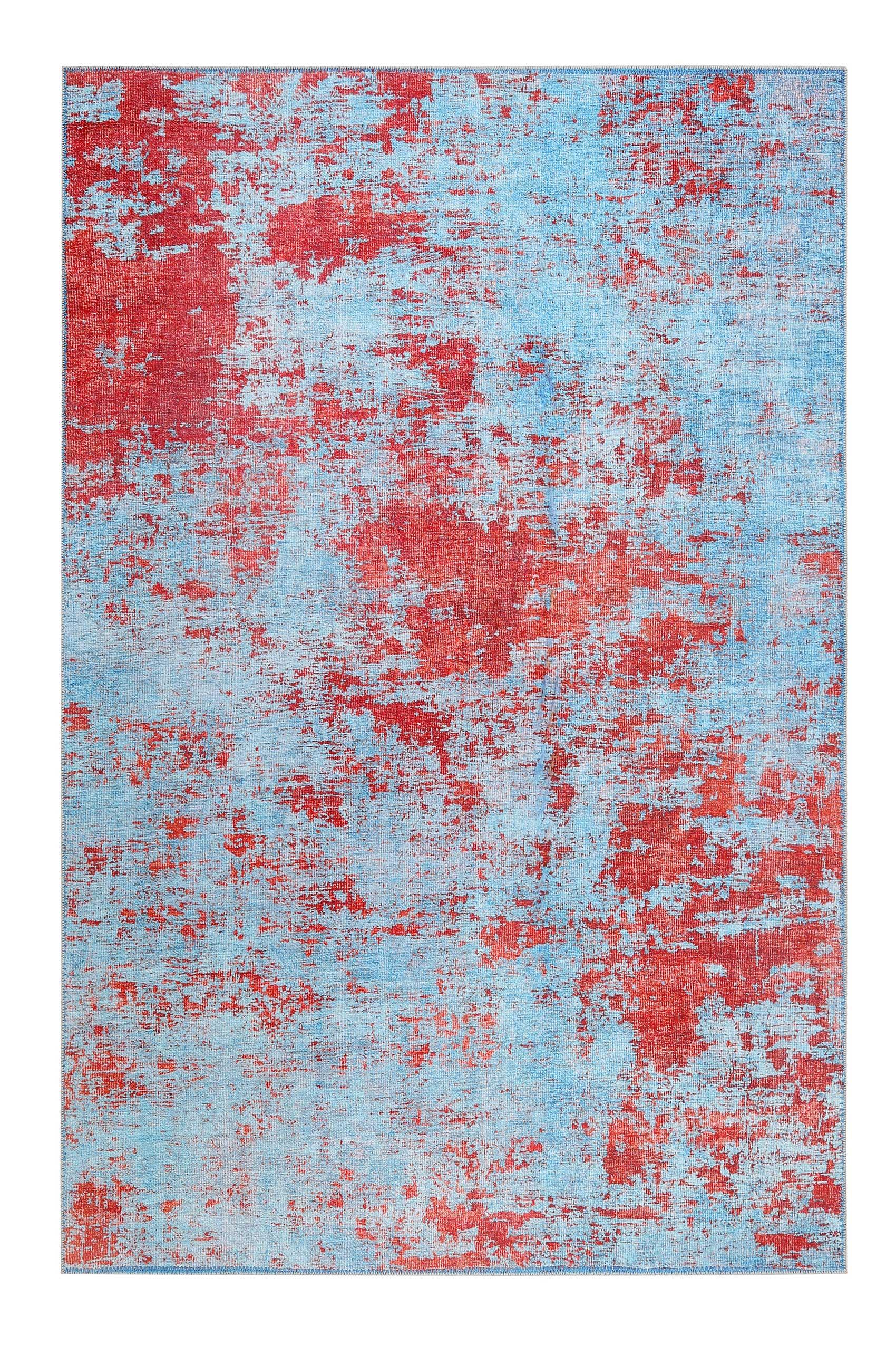 Tapis tissé extra plat bleu et rouge brique 130x190