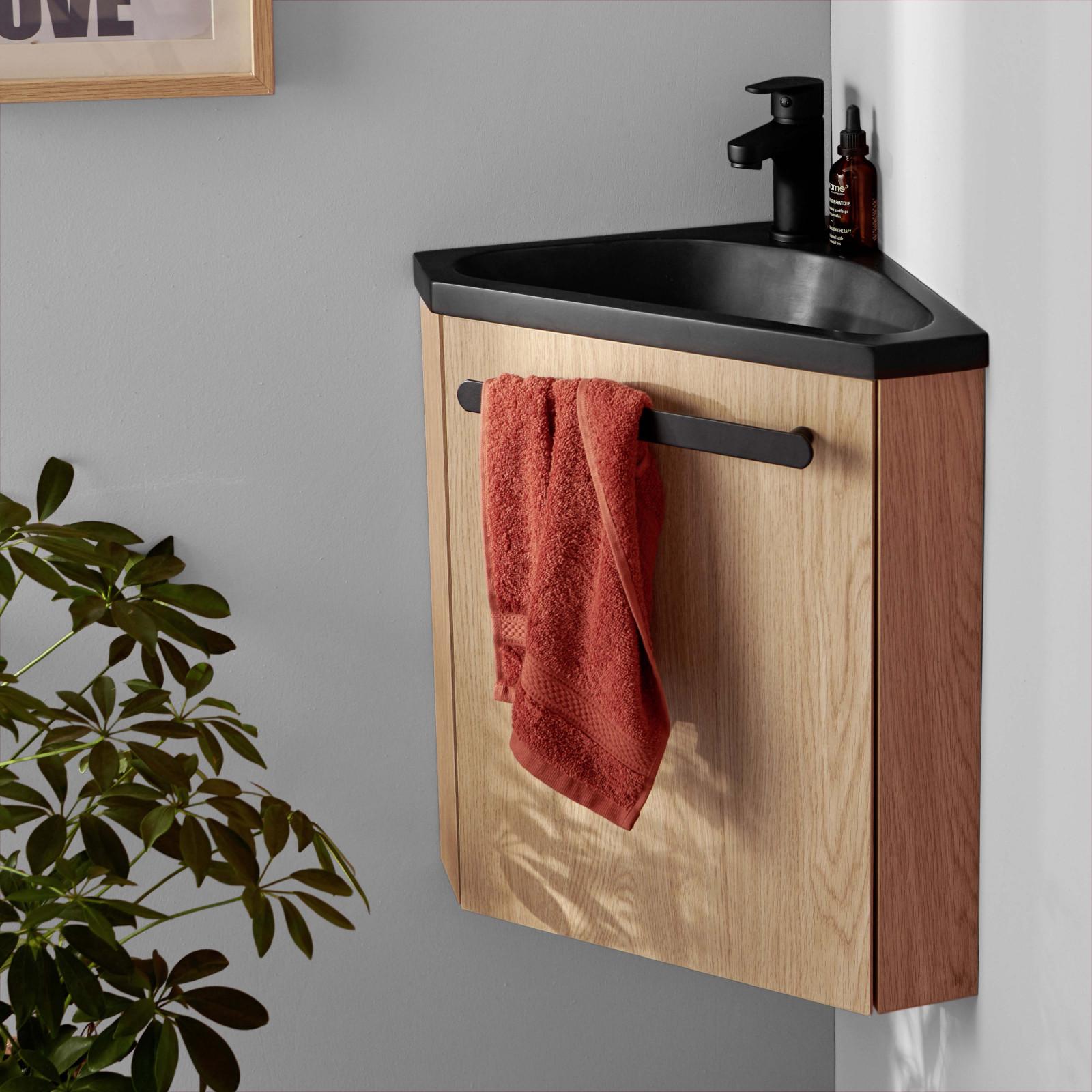 Meuble lave-mains effet bois clair avec robinet