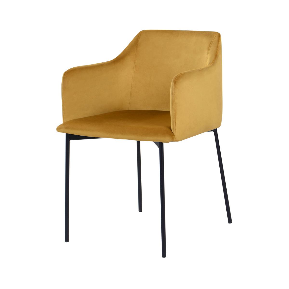 Fauteuil jaune moutarde en velours et pieds en métal noir