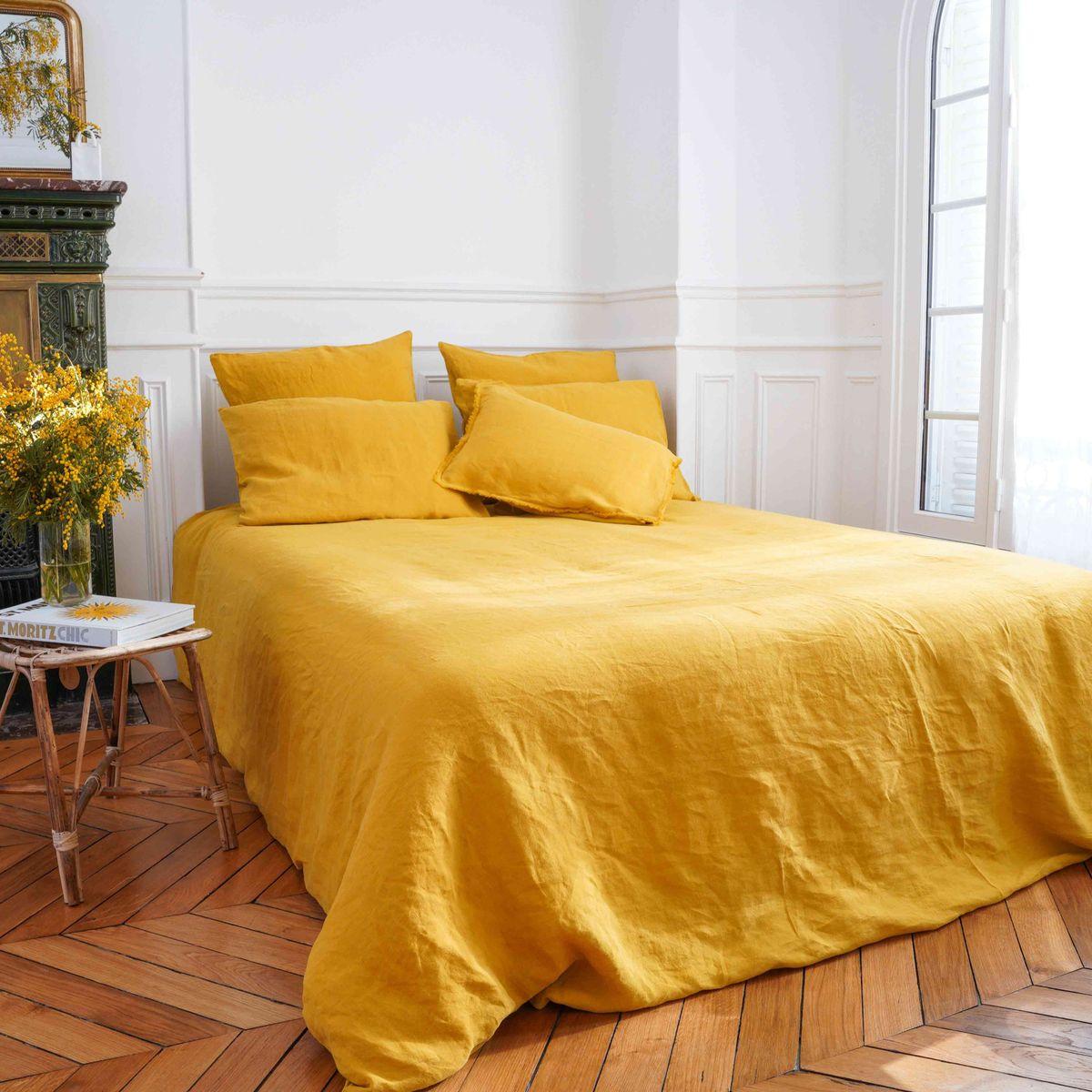 Housse de couette chanvre et coton jaune