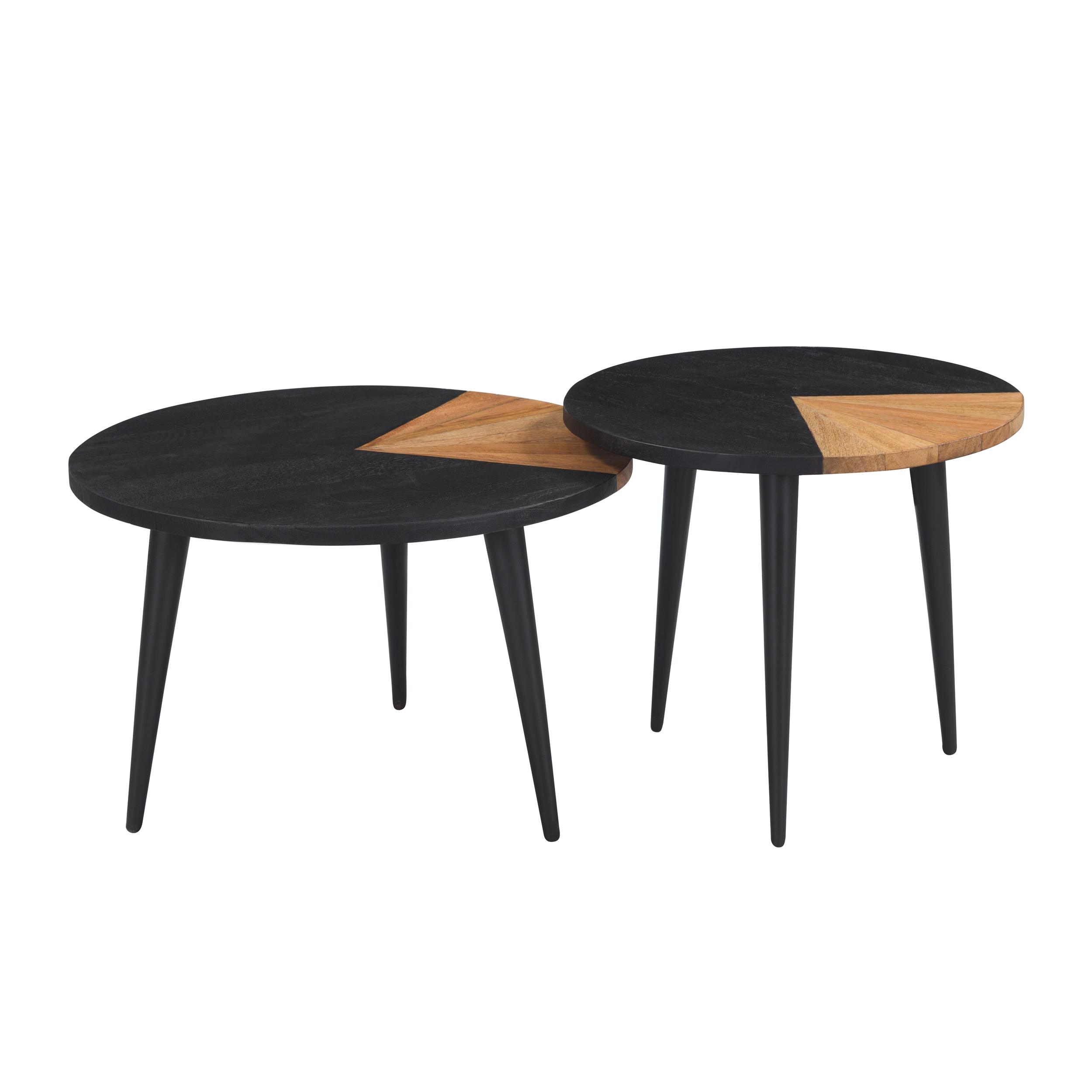 Set de 2 tables basses rondes en bois d'acacia