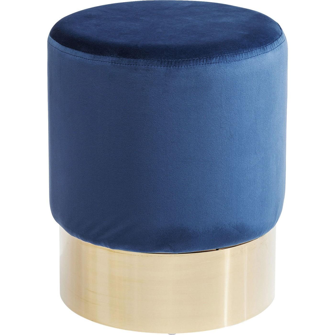 Tabouret en velours bleu pétrole et acier doré D35