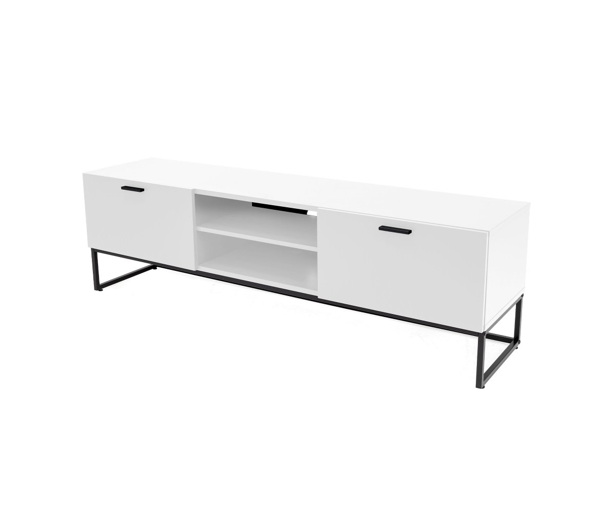 Meuble TV moderne en bois et métal Blanc