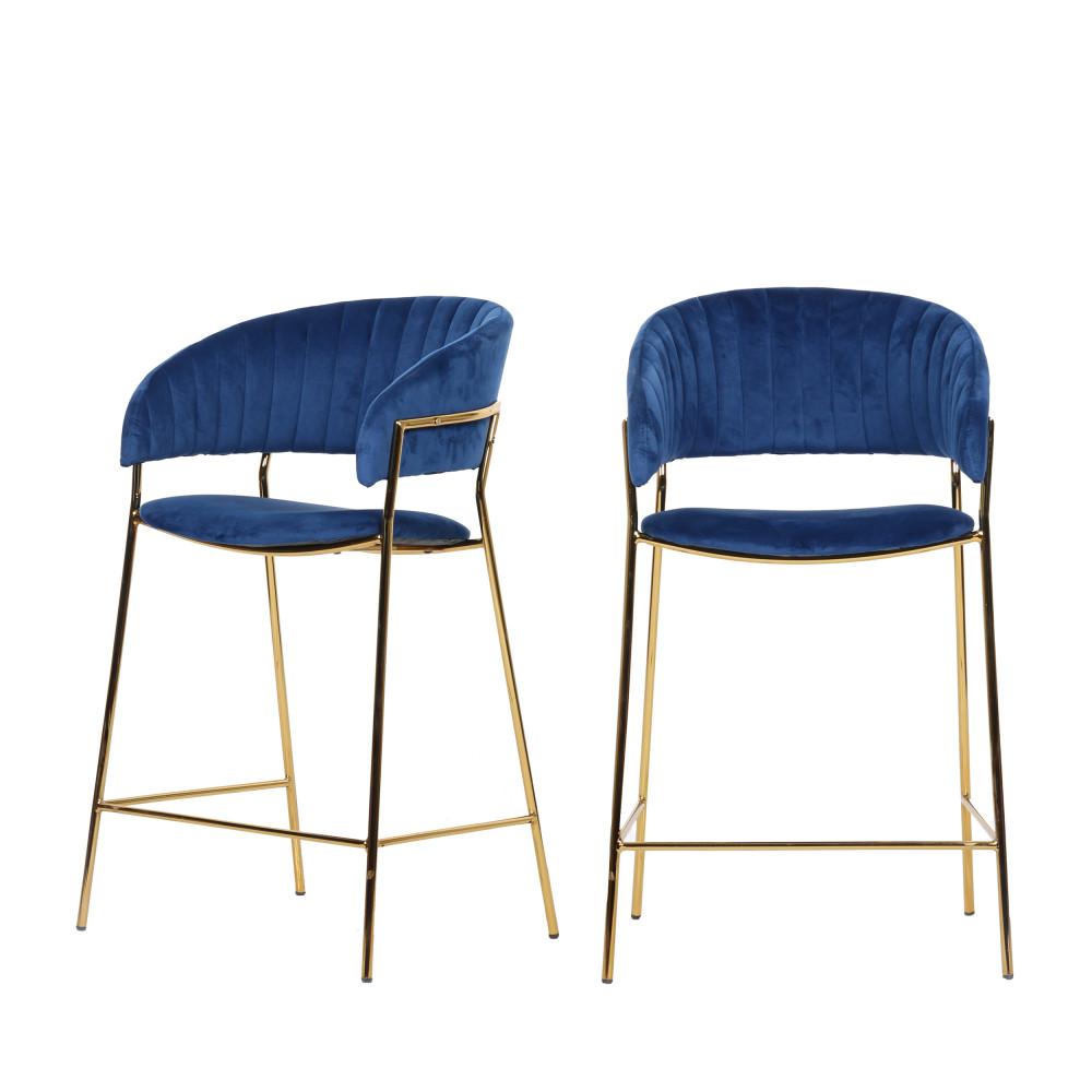 2 tabourets de bar 66cm en métal et velours pieds dorés bleu marine