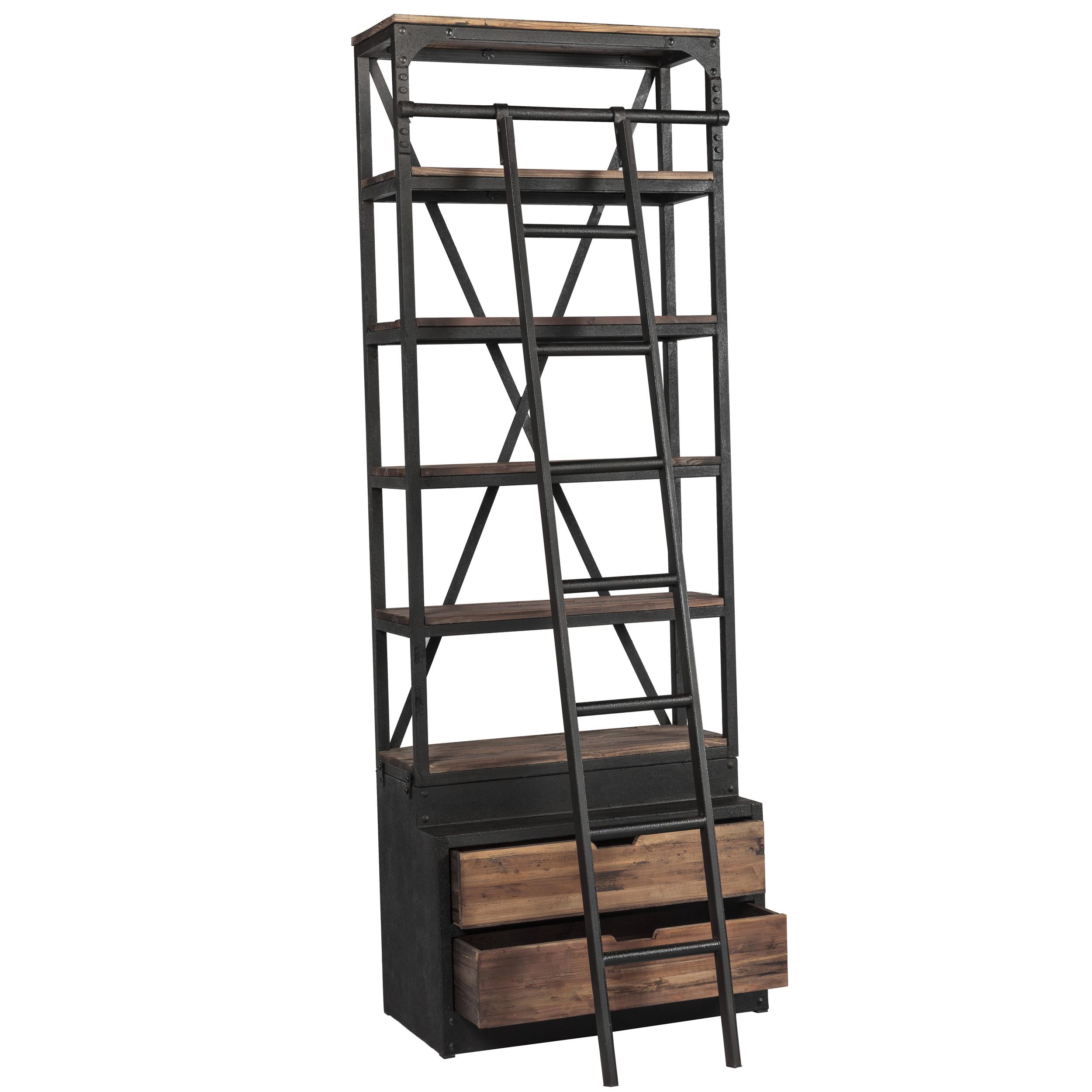 Bibliothèque 86 cm en bois et métal avec échelle, 2 tiroirs
