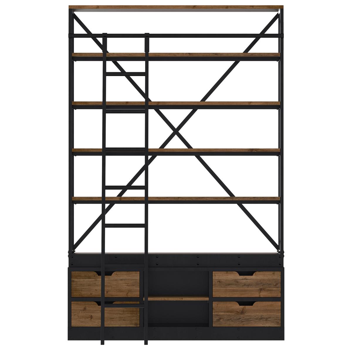 Bibliothèque 160 cm en bois et métal avec échelle, 4 tiroirs