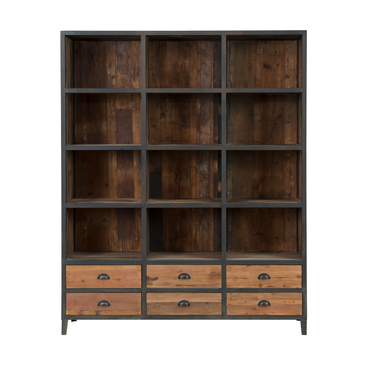 Bibliothèque 6 tiroirs 12 niches en métal et bois de cèdre
