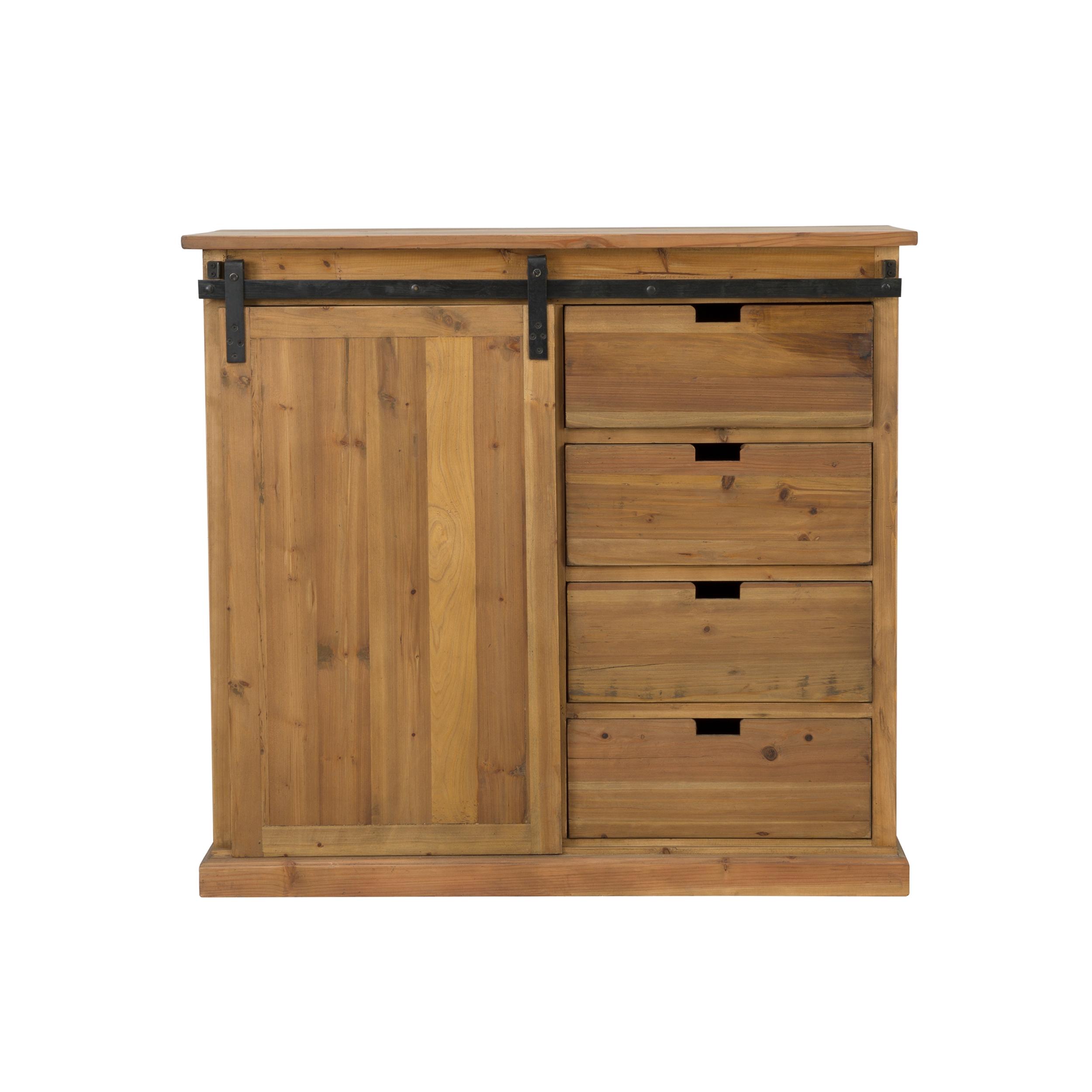 Buffet 4 tiroirs 1 porte coulissante en bois de cèdre