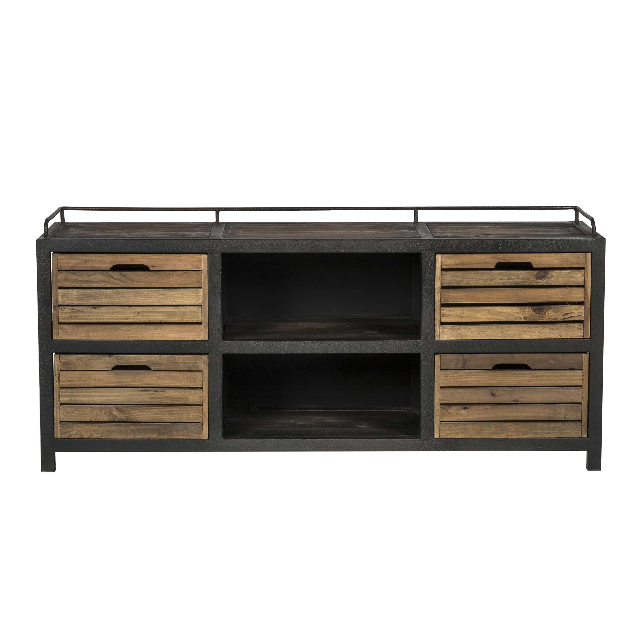 Buffet en bois recyclé et métal, 2 niches et 4 tiroirs