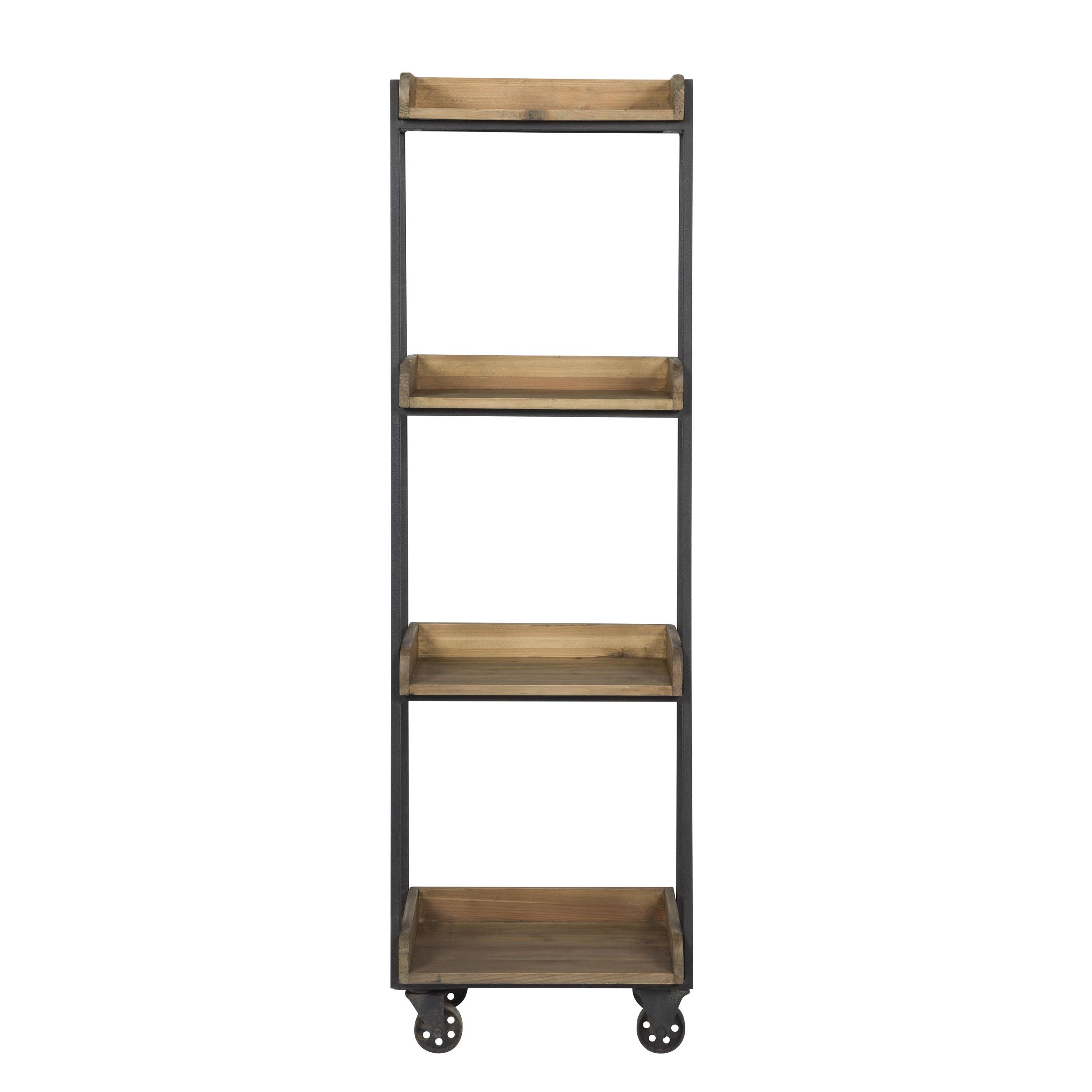 Etagère en bois recyclé et métal 4 étages à roulettes