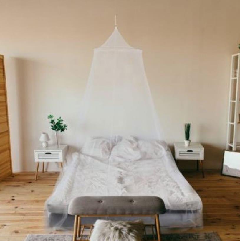 Moustiquaire de lit polyester blanc 2 places