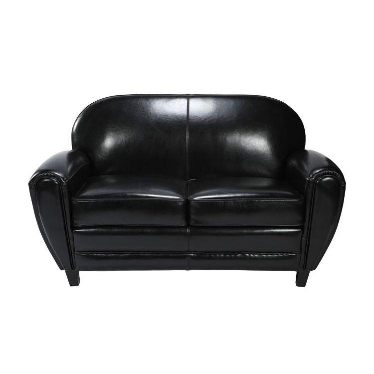 Canapé 2 places noir en croute de cuir enduite