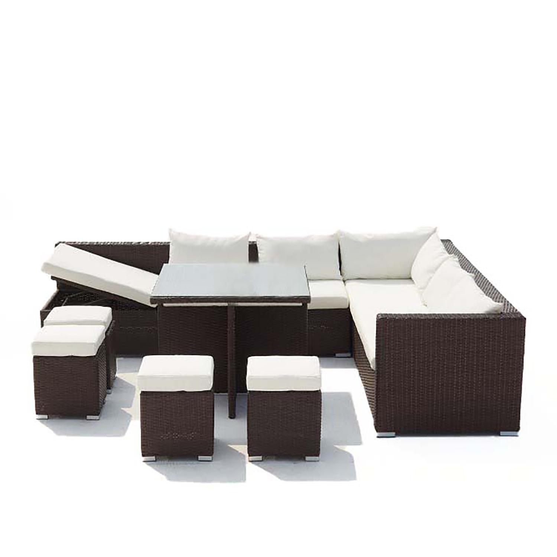 Salon de jardin encastrable 10 places en résine marron/blanc