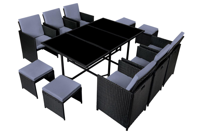 Table et chaises 10 places en résine tressée noir et gris