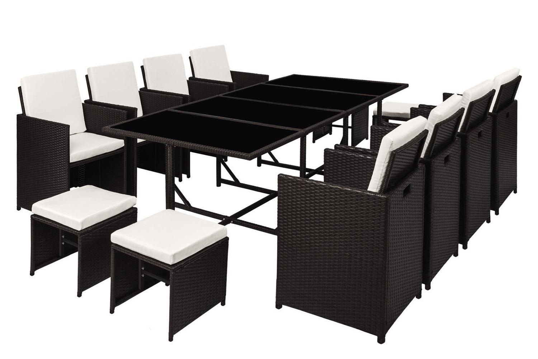 Table et chaises 12 places en résine tressée noir et blanc