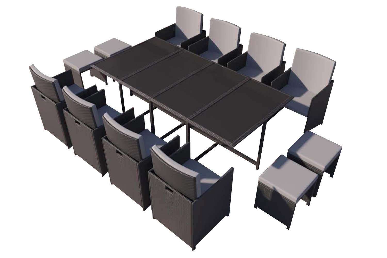 Table et chaises 12 places en résine tressée noir et gris