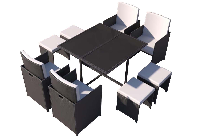 Table et chaises 8 places en résine tressée noir et blanc