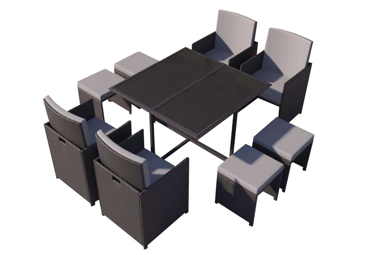 Table et chaises 8 places en résine tressée noir et gris