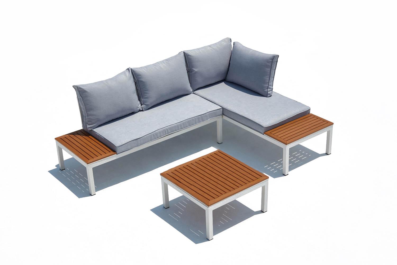 Salon de jardin 4 places en aluminium et acier blanc et gris