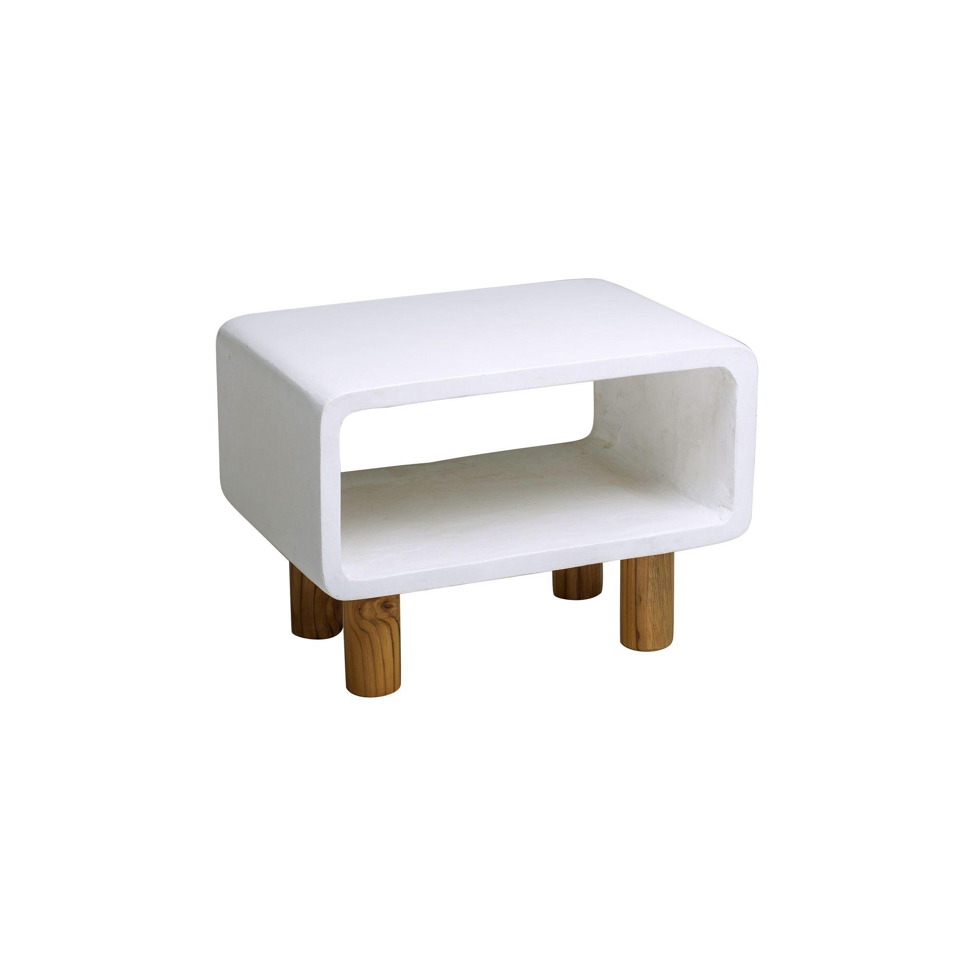 Meuble d'appoint en béton blanc et pieds en teck