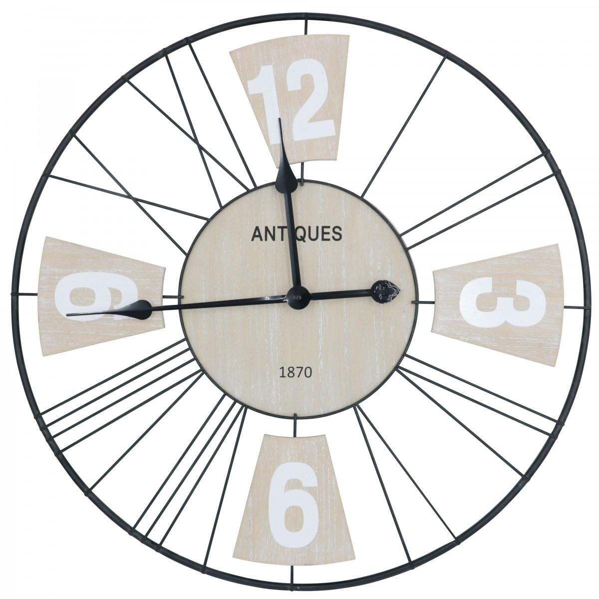 Horloge métal et panneaux de bois D60