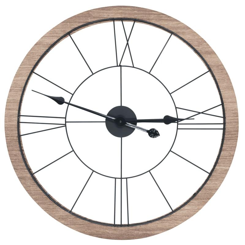 Horloge murale métal et bois D60