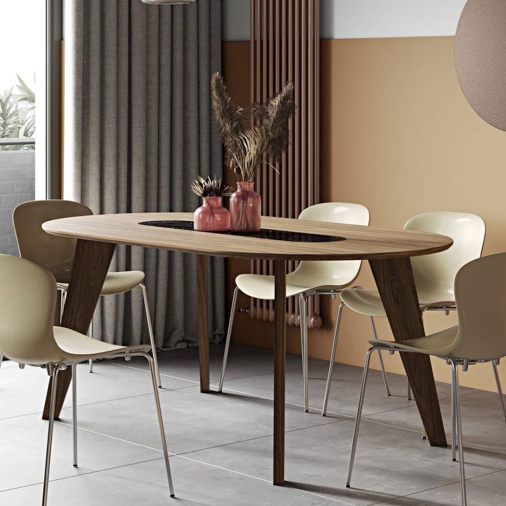 Table  effet bois Noyer et Marbre blanc 4 couverts