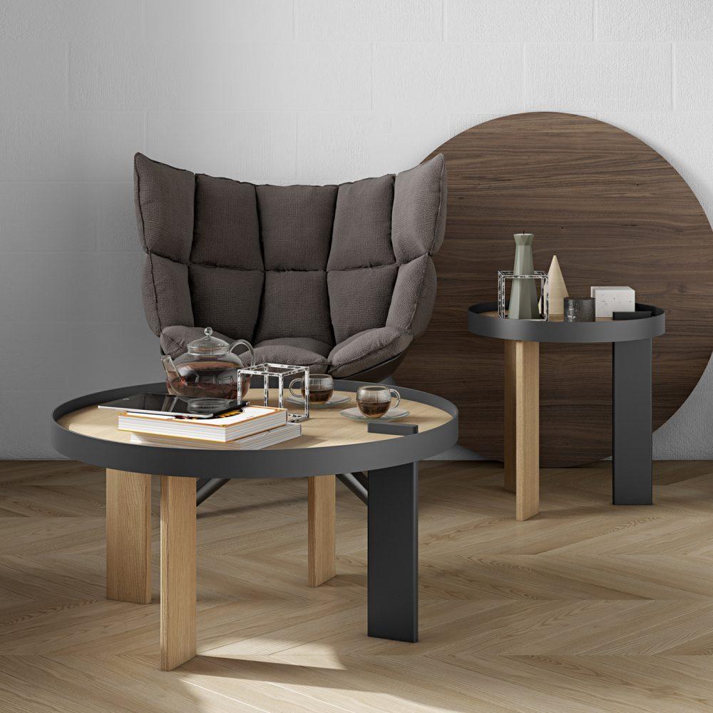 Table Basse  effet bois Chêne et noir
