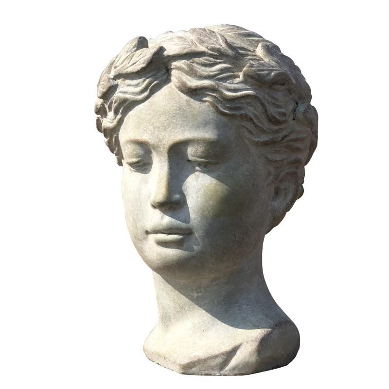 Buste tête de femme terre cuite ciment antique 21x16